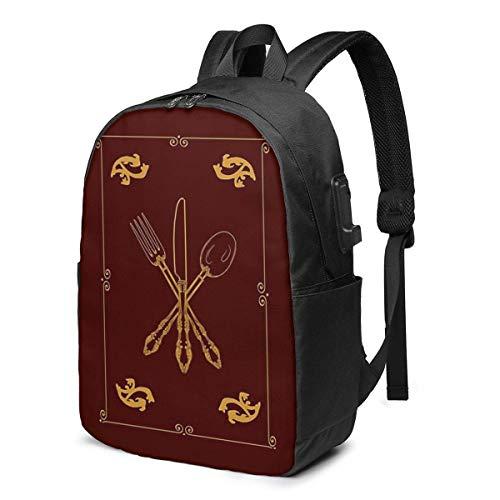 Rononand backpack Zaino Con porta di ricarica USB Zaino per laptop impermeabile casual elegante Borsa da viaggio ultraleggera Just Add Magic Utensils Gold