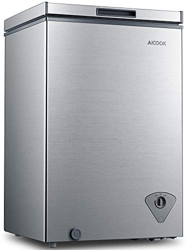 Chest Freezer, 3.5 Cu.Ft Freezer Chest Quiet,Free Standing Compact Freezer with Removable Basket