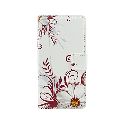 Qiaogle Telefon Case - PU Leder Wallet Schutzhülle Case für Sony Xperia Z4 / Xperia Z3 Plus / E6533 (5.2 Zoll) - HY11 / White Peony Flowers
