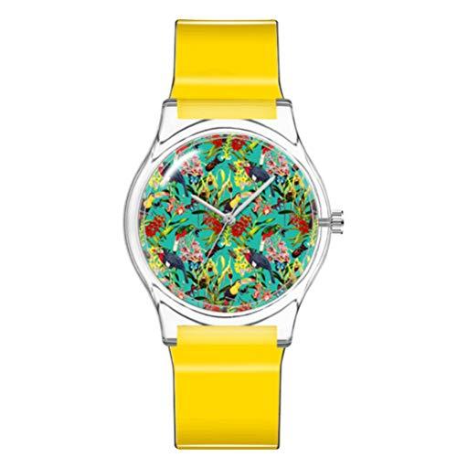 ULTECHNOVO Kinderuhr wasserdichte Uhr Süße Blumen Armbanduhr Japanische Bewegung Armbanduhr Mädchen Plastikuhr (Gelb)