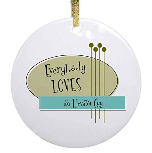 Ja Yhou dontcy Glossy Ceramic Christmas Ornament - Everybody Loves an Elevator Guy Ceramic Ornament Christmas Tree Decor Ornament with Gold Ribbon & Free Gift Box - 2.87'