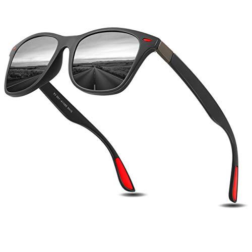 Sonnenbrillen Herren Polarisierte Mode Sonnenbrillen Damen - UV400 Schutz Unisex Sport im Freien Golf Radfahren Angeln Wandern polarisiertesonnenbrilleherren KEAKUO2150 (Schwarz rot, 60)