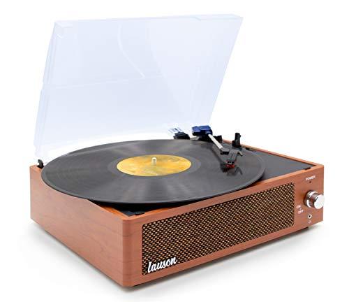 Lauson XN692 Tocadiscos de Vinilo Vintage con Altavoces Incorporados | Tocadiscos Función Grabación Encoding PC-Link | Reproductor de Vinilo 3 Velocidades 33, 45, 78 RPM