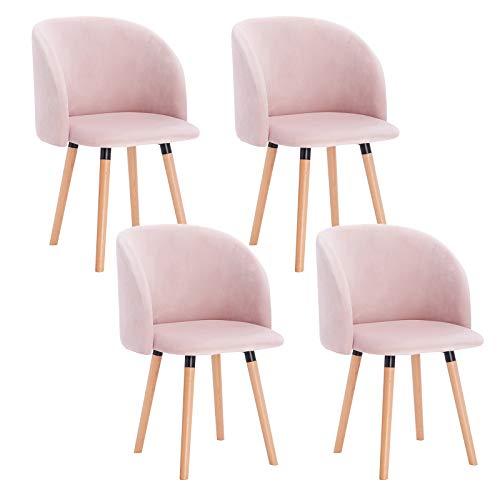 WOLTU 4 x Esszimmerstühle 4er Set Esszimmerstuhl Küchenstuhl Polsterstuhl Design Stuhl mit Armlehne, mit Sitzfläche aus Samt, Gestell aus Massivholz, Rosa, BH121rs-4