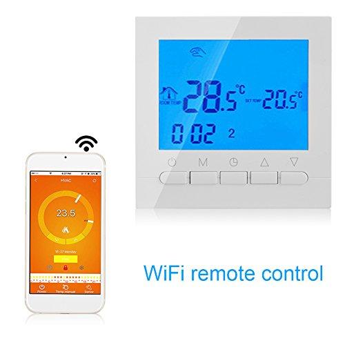 Pomya Termostato - Termostato De Calefacción Inalámbrico WiFi Programable Pantalla LCD Digital Control De Aplicación 110V(Blanco)