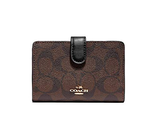 Coach PVC Medium Corner Zip Wallet Signature Brown Black 3173, Small