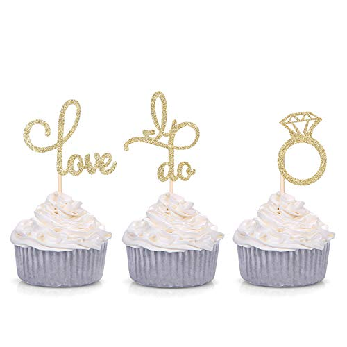 Set of 24 Gold Glitter Love Diamond Ring I Do Cupcake Toppers for Wedding Bridal Shower Decorations …