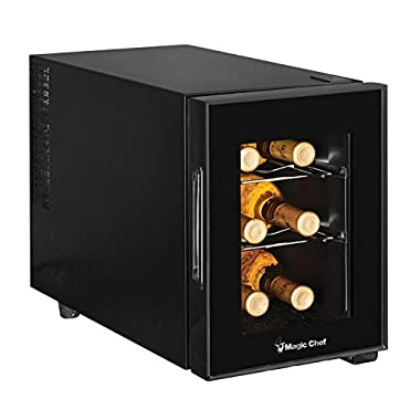 Magic Chef MCWC6B 6 Bottle Countertop Wine Cooler, 13  x 23  x 18 , Black