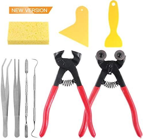 Keadic 9 Pieces Mosaic Tools Set Including Scrapers Tweezers Double Ended Hook Spatula Sponge product image