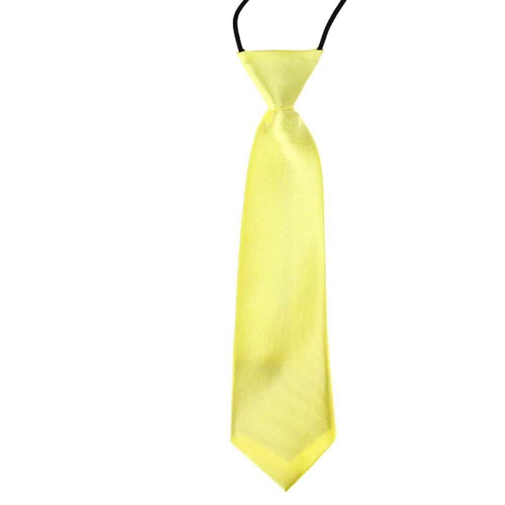 BUYEONLINE School Boys Kids Solid Color Elastic Tie Necktie
