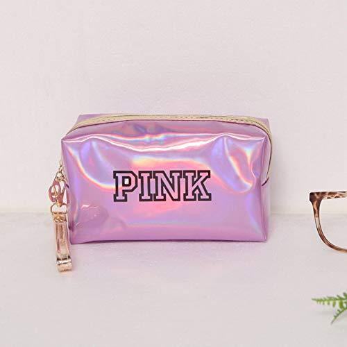 Mode étanche Laser Sacs cosmétiques Femmes Make Up Bag PVC Pouch Wash Sacs Voyage Organisateur Cas Toilette (Color : Pink Square)