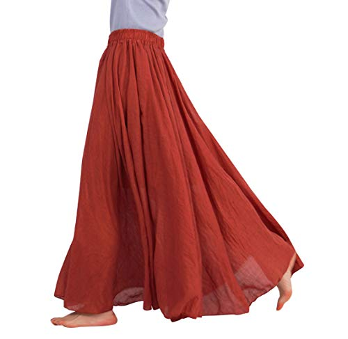 FEOYA Jupe Femme Plissee Longue Coton Lin Casual Jupe Boheme Plage Danse Mariage Vacances Printemps Ete Automne Jupe Maxi Brique Longueur 85 CM (taille M)