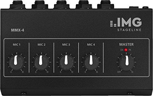 IMG STAGELINE MMX-4 Miniatuur-microfoon-mixer, zwart, 4 monokanalen