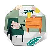 Paraguas Plegable Automático Impermeable Casa de Muebles de Sala de Estar Interior, Paraguas De Viaje Compacto A Prueba De Viento, Folding Umbrella, Dosel Reforzado, Mango Ergonómico