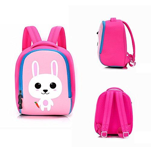 ELEOPTION Comfortable Kids Backpacks for Schooh with 3D Cute Animal Cartoon Design Pre School Backpack Lunch Bag Children Best Gift for Kindergarten Boys Girls (Rabbit Pink)