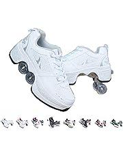 زلاجات خارجية، زلاجات بعجلات للبالغين والأطفال، زلاجات بأربع عجلات، زلاجات للجنسين، أحذية باركور قابلة للتعديل، أحذية جري ذات أربع عجلات.