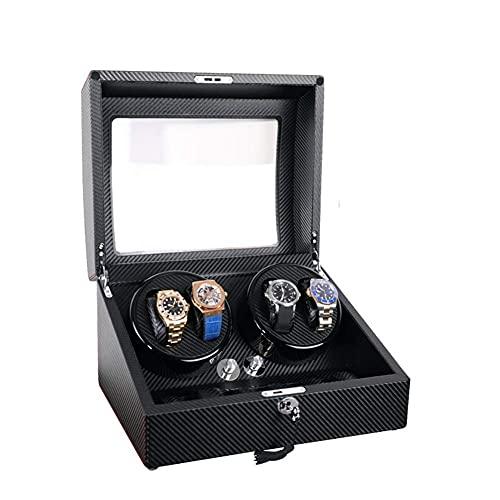 BSJZ Reloj Caja enrolladora automática para 4 Relojes automáticos con 6 Espacios de Almacenamiento Caja de visualización con Motor silencioso Mabuchi y 5 Modos de ro