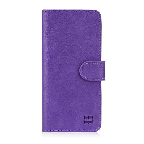 32nd Essential Series - PU Leder Mappen Hülle Flip Hülle Cover für Alcatel 3 und 3L (2019), Ledertasche hüllen mit Magnetverschluss & Kartensteckplatz – Violett