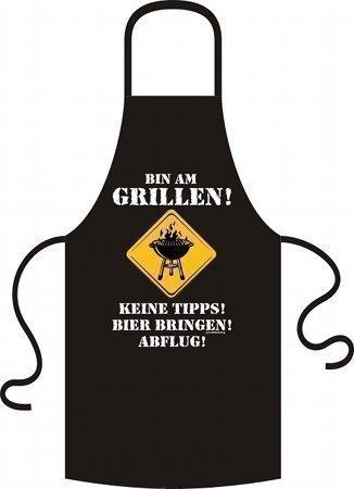 Lustige Grillschürze Kochschürze Schürze schwarz Bin am Grillen by RAHMENLOS