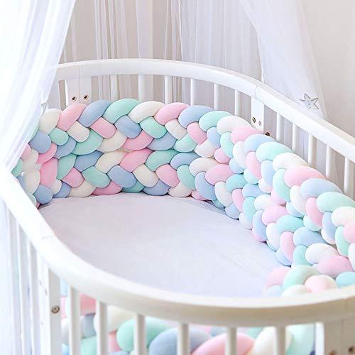 Bettumrandung, Baby Nestchen Kinderbett Stoßstange Weben Bettumrandung Kantenschutz Kopfschutz für Babybett Bettausstattung 220cm