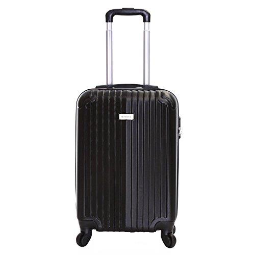 Slimbridge bagaglio a mano dura valigia rigida 55 cm 2,5 kg 35 litri con 4 ruote robuste e numero di blocco, Borba Nero