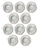 10er Set Einbaustrahler IP65 Edelstahl gebürstet Bad Dusche GU10 5Watt LED Leuchtmittel 2700Kelvin warm-weiß 450Lumen Leuchtmittel austauschbar Einbauleuchten Rostfrei