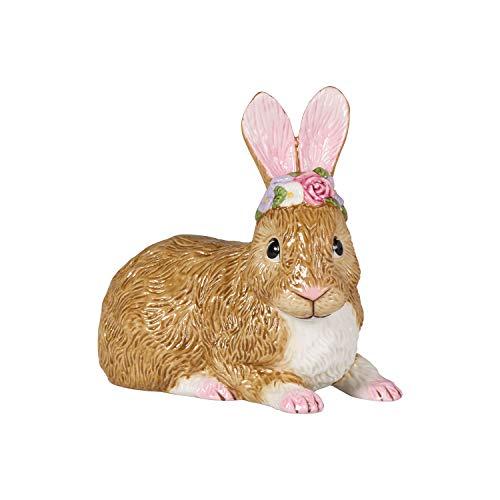 Villeroy & Boch Easter Bunnies Coniglio Grande, Sdraiato con Corona di Fiori, Statuetta Decorativa Coniglietto Pasquale, Porcellana Dura, Multicolore, Medio