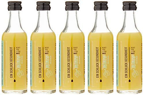 EIN SCHLUCK  GESUNDHEIT MIT MINZE - Ginger Energy Shot  mit Ingwersaft, Honig, Zitronensaft, Minze Saft und Kokoswasser, pasteurisiert, 5 Glasflaschen x 50 ml