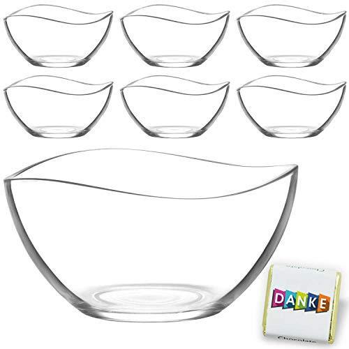 1 große & 6 kleine Glasschalen im Set, Design Snack Schalen Frühstück oder Party, Vorspeise Servier Glasschale, Dessertschale, Knabberschale aus Glas, lebensmittelechte Müsli Glasschüsseln Vira