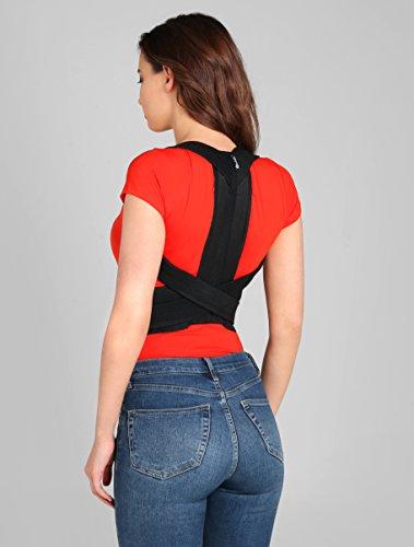 ®BeFit24 Schultergurt Haltungskorrektur für Damen und Herren - Geradehalter für Rücken Schulter - Rückenstabilisator - Haltungstrainer - Back Support Posture Corrector [ Size 2 - Schwarz ]