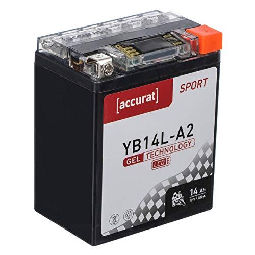Accurat Batterie de moto YB14L-A2 14Ah 200A 12V Technologie gel + Écran LCD Batterie de démarrage Performante Robuste Résistante aux vibrations Zéro maintenance