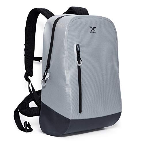 Xelfly Swagfly Waterproof Backpack - TPU Coated Durable Nylon - Lightweight Adjustable Straps - Unisex Bag for Commuters, Biking, Walking, College - Large Capacity (18L, Slate)