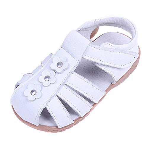 Sandalias con Punta Cerrada para Niña,Suave Infantiles Antideslizante del Zapato con Velcro Cuero,Blanco,20