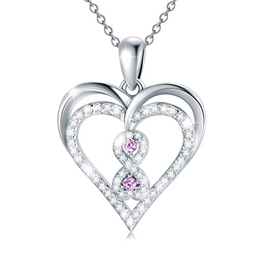 'Time Witness Our Love'Infinity Love Heart Necklace for Women, 925 Sterling Silver Necklace Gift for Wife Mum