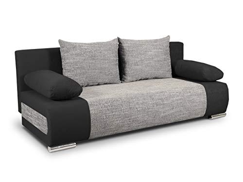 Schlafsofa Naki - Sofa mit Schlaffunktion und Bettkasten, Bettsofa, Couchgarnitur, Couch, Sofagarnitur, Bett (Schwarz + Grau (Alova 04 + Berlin 01))