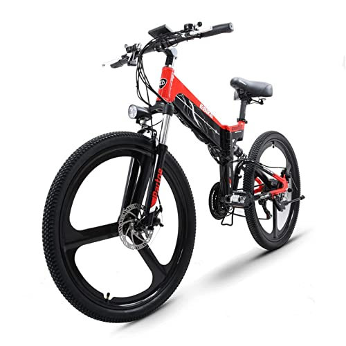 Liu Yu·casa creativa Bicicleta eléctrica para Adultos Plegable 26 Pulgadas neumático Gordo 500W Motor de Alta Velocidad 48V batería de Litio Oculta Bicicleta de montaña eléctrica (Color : 48V24AH)