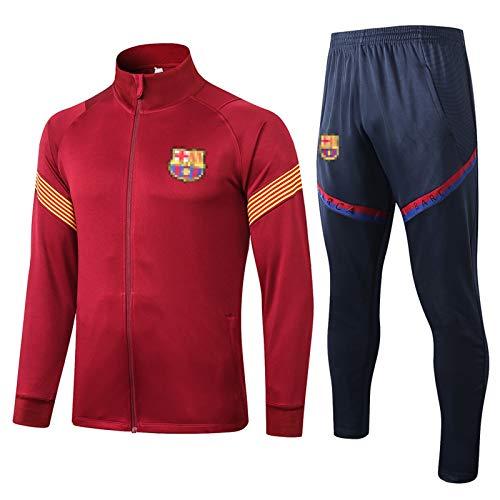 BǎRCěLǒNǎ Soccer Jersey Traje de fútbol Set Grǐězmǎnn Top Jogging Top y Pantalones Traje Entrenamiento Desgaste Sportswear, 2021 Uniformes de Maroon Correr Chaquetas S