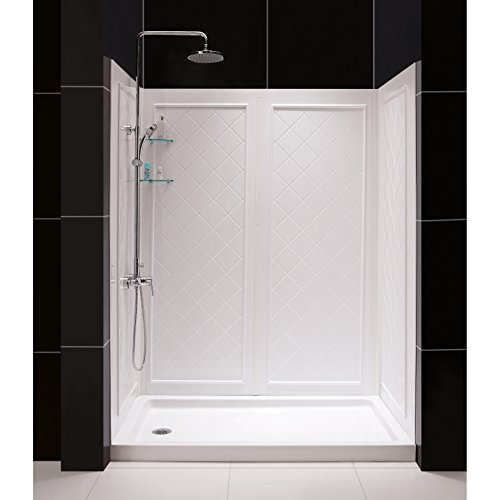 DreamLine 36 in. D x 60 in. W x 76 3/4 in. H Left Drain Acrylic Shower Base and QWALL-5 Backwall Kit In White, DL-6192L-01