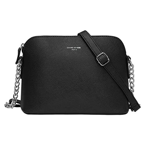David Jones Piccola Borsa a Tracolla Spalla Donna Catena Borsa Mano PU Pelle Messenger Crossbody Bag Clutch Borsetta Sera Pochette Elegante Shopping Viaggio Sacchetto Borsello 22x17x10 cm Nero