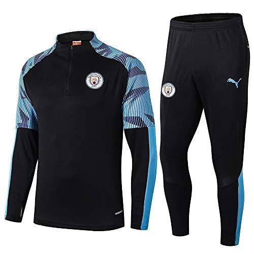 LZMX Manchester City Fußball-Trainingsanzug Team-Wettbewerb Sport 2-teiliger Anzug Zipper Sport Fußball langärmelige Rundhals Shirt (Size : S)