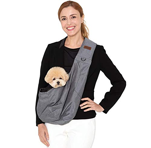 RETRO PUG Dog Sling Carrier for Small and Medium Dogs,Cat - Pet Sling Carrier - Travel Puppy Carrying Bag – Doggie Pouch – Adjustable Shoulder Strap – Tote Purse – Chest Holder - 15~20 lbs (Grey)
