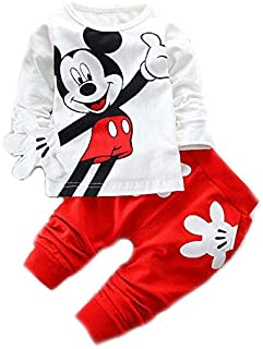 b46ab8a99b Bold N Elegant Attractive White n Red Mickey Mouse Cute Cartoon Tshirt  Pyjama Set Little Baby