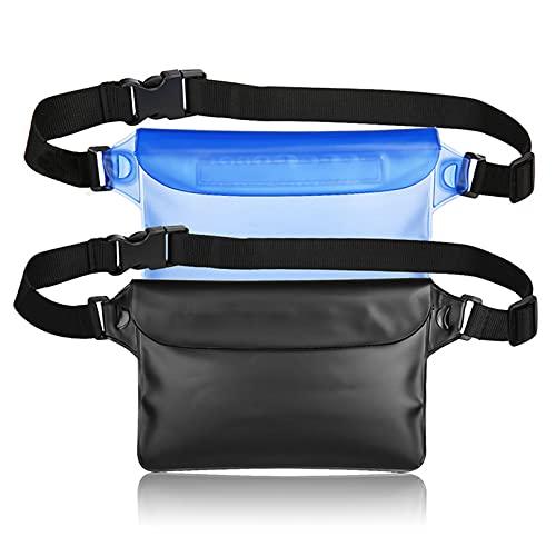 bamgril 2 Pack Sacca Impermeabile Mare Proteggere Il Tuo Cellulare Portafoglio Telecamera Borsa Impermeabile Mare per Spiaggia Nuoto Kayak Canottaggio Drifting Pesca (Nero + Blu)