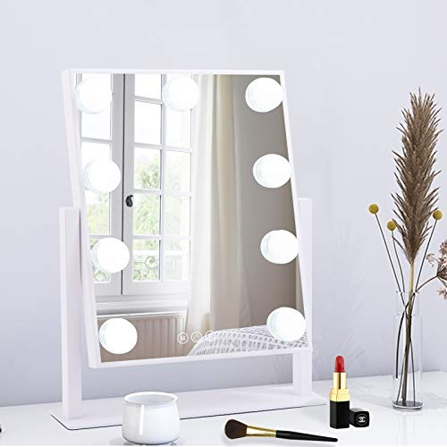 BWLLNI Lighted Makeup Mirror Hollywood Mirror Vanity Mirror with Lights, Touch Control Design 3 Colors Dimable LED Bulbs Detachable 10X Magnification 360°Rotation, White.
