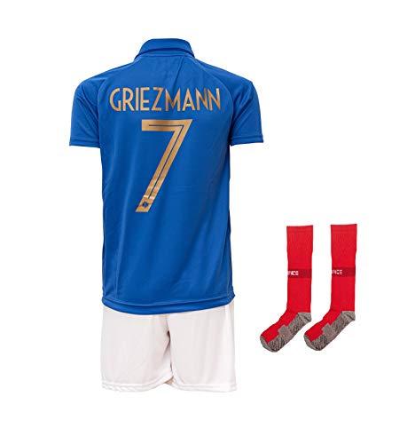 Frankreich #7 Griezmann 2019-2020 Heim Kinder Fußball Trikot Hose und Socken Kindergrößen