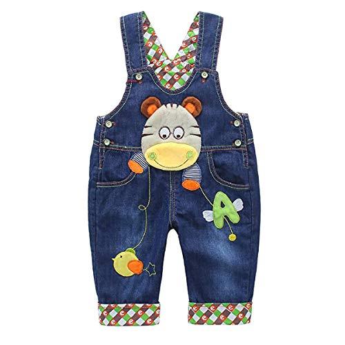 DEBAIJIA Baby Jungen Mädchen Denim Latzhose Kleinkind Hosenträger Jeans Overall Nilpferd Herstellergr.90 - Deutsche Gr.86/92