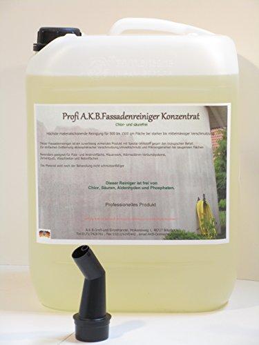 A.K.B. Fassadenreiniger Hochkonzentrat für Hochdruckreiniger,(KEIN BIOZID !!!) 0395.(10 L Kanister + Gratis-Ausgiesser)