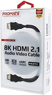 Promate HDMI Cable - 8K HDMI 2.1 Audio Video Cable - 2 Meter Cord High Speed 48Gbps, Compatible for Xbox, PS3 PS4, Blu Ray DVD Player, Samsung LG HDTV, HP Computer Monitor Length 2 Meter - Black