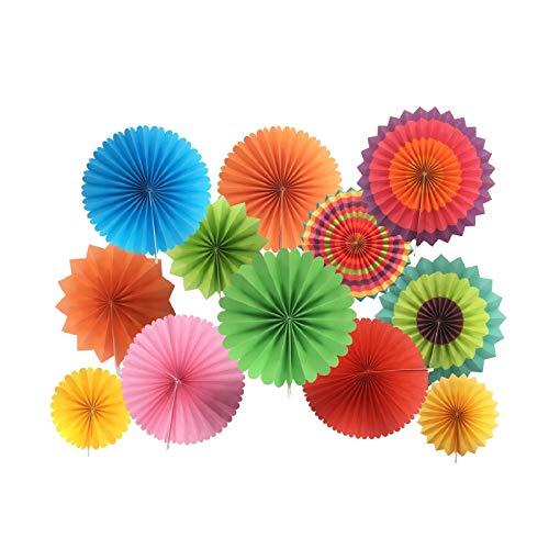 Juego de 12 guirnaldas de papel para colgar, diseño redondo, para decoración de cumpleaños, bodas, graduaciones, accesorios para eventos Arcoíris.