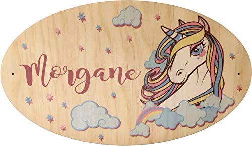 Décoration de Porte en bois pour une Chambre d'enfant - Le prénom de la plaque en bois est personnalisable - cadeau de naissance personnalisé - déco enfant & bébé (Pq Porte 3)